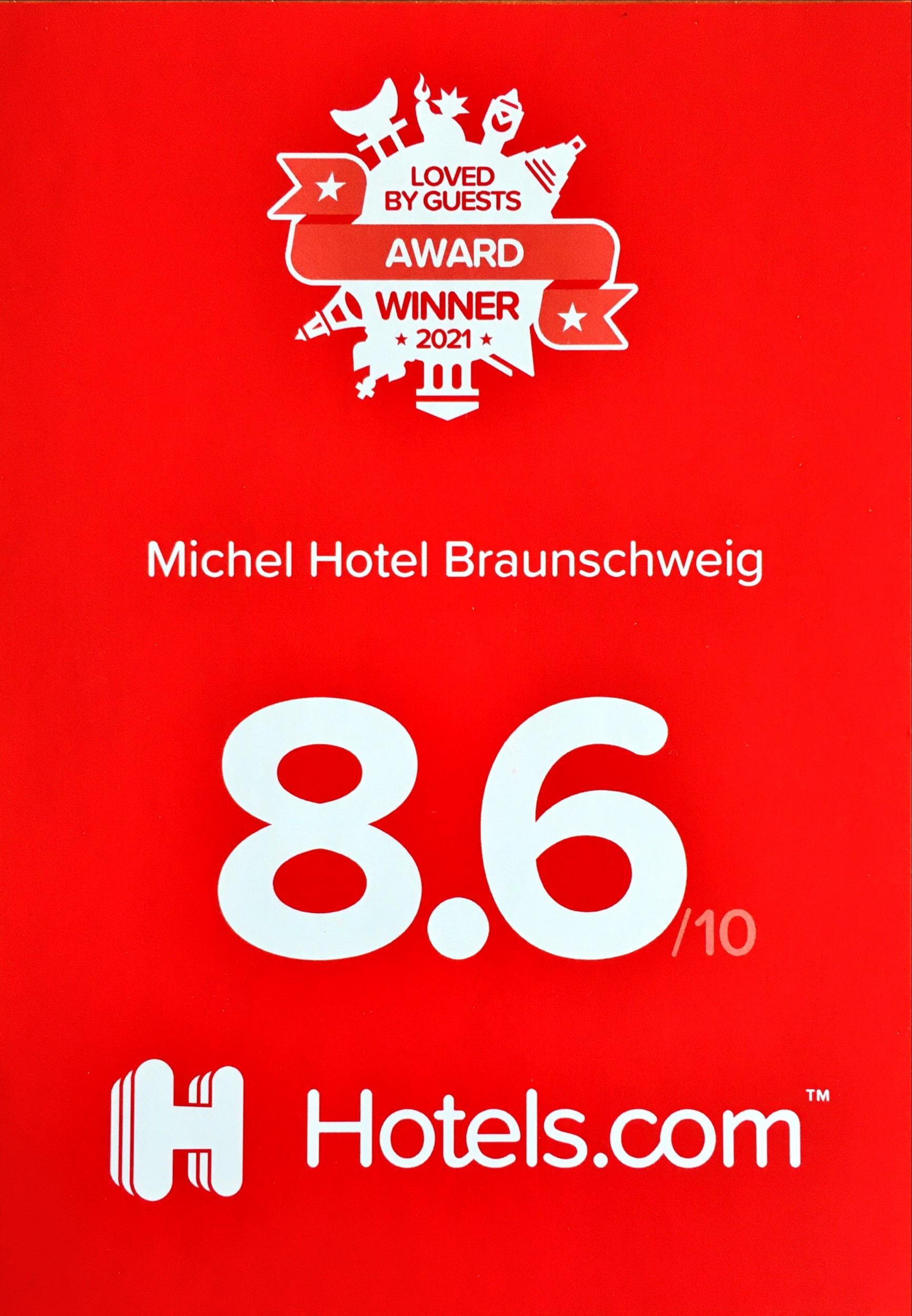 hotel.com loved by guests Award  2021